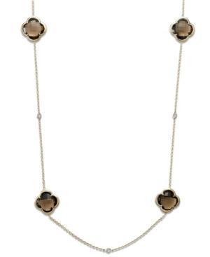14k Gold Necklace, Smokey Topaz (48 Ct. T.w.) And Diamond (1/6 Ct. T.w.) Necklace