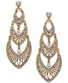 Abs By Allen Schwartz Gold-tone Filigree Crystal Drop Earrings