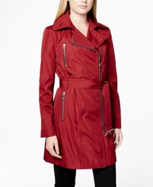 Calvin Klein Asymmetrical-zip Belted Trench Coat