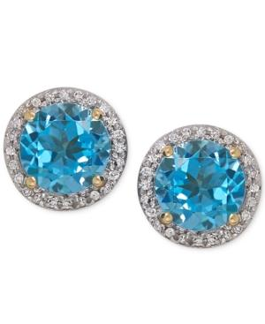 Blue Topaz (3 Ct. T.w.) And Diamond (1/10 Ct. T.w.) Stud Earrings In 14k Gold