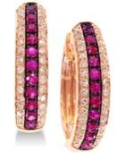 Effy Ruby (1/3 Ct. T.w.) & Diamond (1/4 Ct. T.w.) Hoop Earrings In 14k Gold
