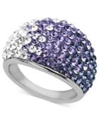 Kaleidoscope Sterling Silver Ring, Purple Crystal Dome Ring With Swarovski Elements