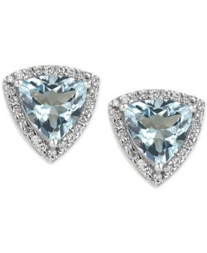 Aquamarine (3 Ct. T.w.) And Diamond (1/4 Ct. T.w.) Stud Earrings In 14k White Gold