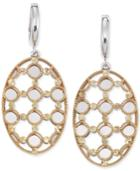 Sis By Simone I Smith Openwork Oval Drop Earrings In 14k Gold And Sterling Silver
