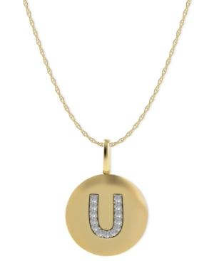 14k Gold Necklace, Diamond Accent Letter U Disk Pendant