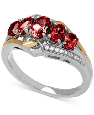Garnet (1-5/8 Ct. T.w.) And Diamond Accent Ring In Sterling Silver And 14k Gold