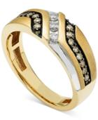 Men's Diamond Two-tone Ring (1/2 Ct. T.w.) In 10k Yellow And White Gold