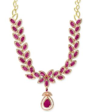 Effy Ruby (14-1/10 Ct. T.w.) And Diamond (2-3/4 Ct. T.w.) Fancy Collar Necklace In 14k Gold