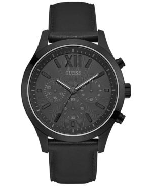 Guess Men's Chronograph Black Leather Strap Watch 46mm U0789g4