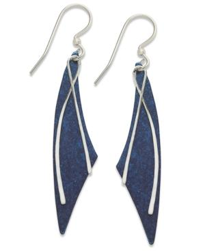 Jody Coyote Patina Bronze Earrings, Blue Long Curve Drop Earrings