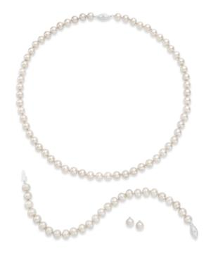 Sterling Silver Jewelry Set, Cultured Freshwater Pearl And Diamond Accent Earrings, Necklace And Bracelet