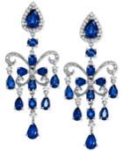 Effy Sapphire (7-1/2 Ct. T.w.) And Diamond (5/8 Ct. T.w.) Chandelier Earrings In 14k White Gold