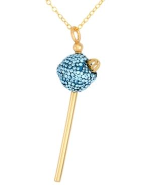 Sis By Simone I Smith 18k Gold Over Sterling Silver Necklace, Light Blue Crystal Mini Lollipop Pendant