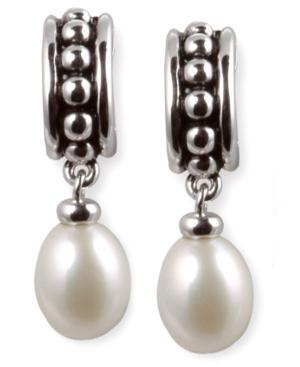 Cultured Freshwater Pearl Hoop Earrings In Sterling Silver