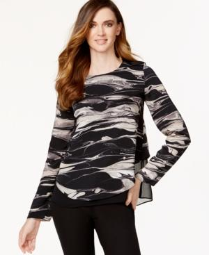 Dknyc Printed Layered-hem Top