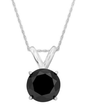 14k White Gold Necklace, Black Diamond Bezel Pendant (1 Ct. T.w.)