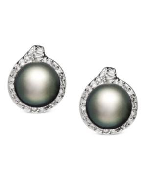 14k White Gold Earrings, Cultured Tahitian Pearl (11mm) And Diamond (3/4 Ct. T.w.) Stud Earrings