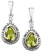 14k Gold And Sterling Silver Earrings, Peridot (7/8 Ct. T.w.) And Diamond Accent Teardrop Earrings