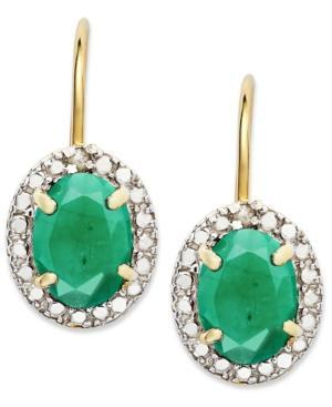 Victoria Townsend 18k Gold Over Sterling Silver Earrings, Emerald (2-1/5 Ct. T.w.) And Diamond Accent Leverback Earrings