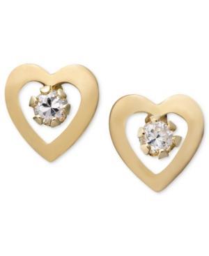 Children's 14k Gold Earrings, Cubic Zirconia Accent Heart Studs