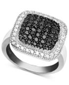 Victoria Townsend Sterling Silver Ring, Black Diamond (1/4 Ct. T.w.) And White Diamond Accent Square Ring