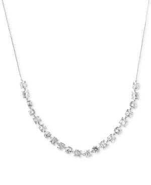 Carolee Silver-tone Crystal Slider Necklace