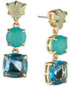 Carolee Gold-tone Stone Triple Drop Earrings