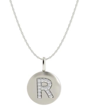 14k White Gold Necklace, Diamond Accent Letter R Disk Pendant
