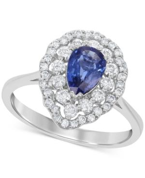 Sapphire (4/5 Ct. T.w.) And Diamond (1/2 Ct. T.w.) Ring In 14k White Gold