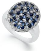 Sterling Silver Ring, Sapphire Oval Ring (1-1/4 Ct. T.w.)