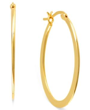 Hint Of Gold 14k Gold-plated Brass Earrings, 30mm Oval Hoop Earrings