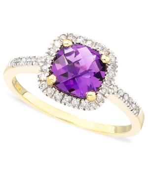Cushion-cut Amethyst In 10k Gold (1 Ct. T.w.) And Diamond Ring In 10k Gold (1/10 Ct. T.w.)