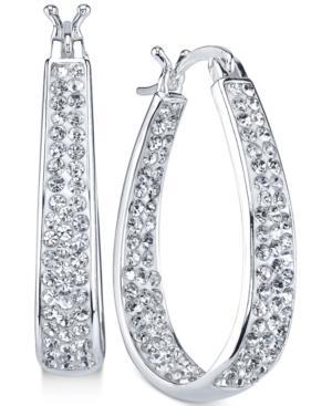 Unwritten Silver-tone Crystal Teardrop Hoop Earrings