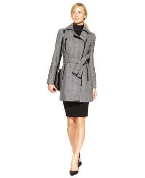 Calvin Klein Asymmetrical-zip Herringbone Trench Coat