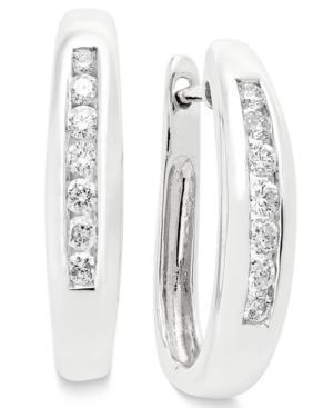 Diamond Channel Set Hoop Earrings (1/4 Ct. T.w.) In 14k Yellow Or White Gold
