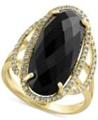 Eclipse By Effy Onyx (6-3/8 Ct. T.w.) And Diamond (1/4 Ct. T.w.) Statement Ring In 14k Gold
