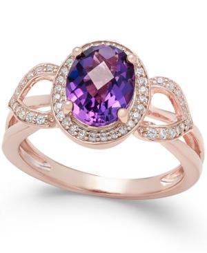 Amethyst (1-3/4 Ct. T.w.) And Diamond (1/5 Ct. T.w.) Ring In 14k Rose Gold