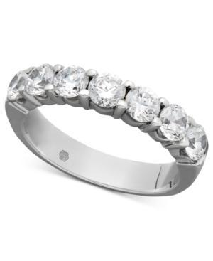 Diamond Ring, 14k White Gold Seven Certified Diamond Station Band (1-1/2 Ct. T.w.)