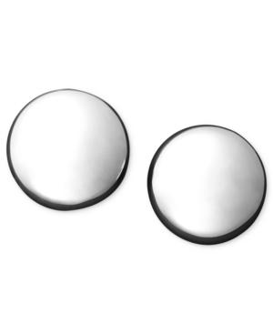14k White Gold Earrings, Flat Ball Stud (5mm)