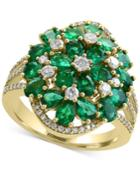 Brasilica By Effy Emerald (4-1/3 Ct. T.w.) And Diamond (1/2 Ct. T.w.) Cluster Ring In 14k Gold