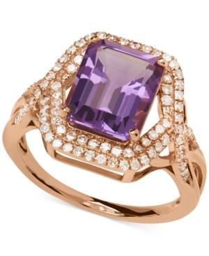 Amethyst (3 Ct. T.w.) And Diamond (3/8 Ct. T.w.) Ring In 14k Rose Gold