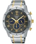 Pulsar Men's Solar Chronograph On The Go Two-tone Stainless Steel Bracelet Watch 44mm Px5057