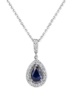 Sapphire (3/4 Ct. T.w.) & Diamond (1/4 Ct. T.w.) 18 Pendant Necklace In 14k White Gold