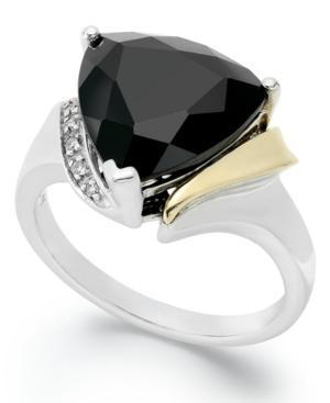 14k Gold And Sterling Silver Ring, Faceted Onyx (6 Ct. T.w.) And Diamond Accent Ring