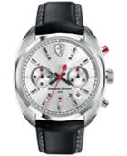 Scuderia Ferrari Men's Chronograph Formula Sportiva Black Leather Strap Watch 43mm 830241