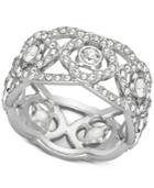 Swarovski Silver-tone Crystal Open-work Ring