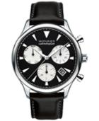 Movado Men's Swiss Chronograph Heritage Series Calendoplan Black Leather Strap Watch 43mm 3650005