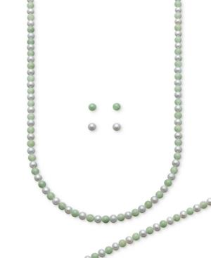 Sterling Silver Jewelry Set, Cultured Freshwater Pearl And Jade Earrings, Necklace, And Bracelet Set