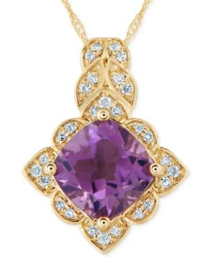 Amethyst (2 Ct. T.w.) & Diamond (1/10 Ct. T.w.) Pendant Necklace In 14k Gold
