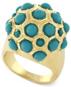 Bcbgeneration Gold-tone Blue Bead Ball Ring